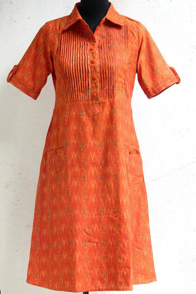 dress-orange-ikat-pleats