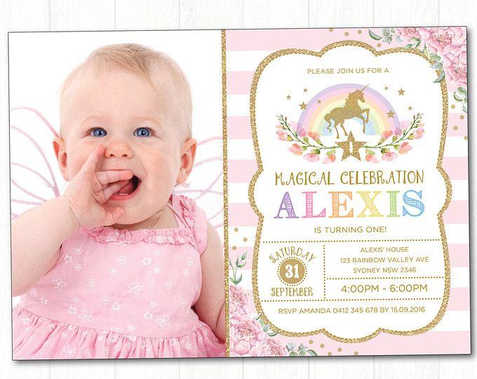 Invitación de unicornio. Partido de unicornio arco iris. Invitación de cumpleaños. Primer cumpleaños. Color de rosa y oro para imprimir invitación. Invitación de arco iris. UNI1