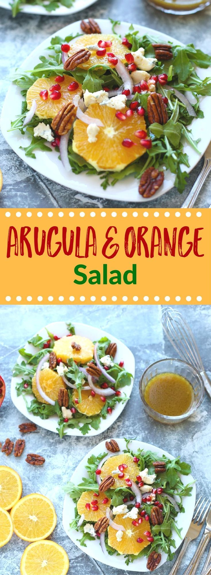 This Arugula and Orange Salad is filled with so many seasonal goodies! Sliced oranges, pomegranate seeds, red onion, and blue cheese topped with a simple sweet dressing. It's sure to be a hit on your holiday table! {gluten free} via @lkkelly98