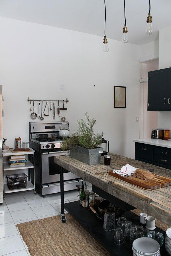 Black & white, rustic & modern kitchen.