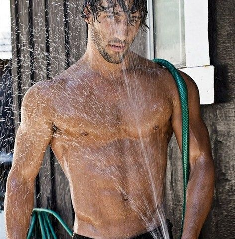 naked male garden hose