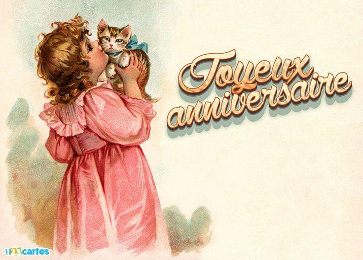Carte anniversaire vintage témoin d'une époque