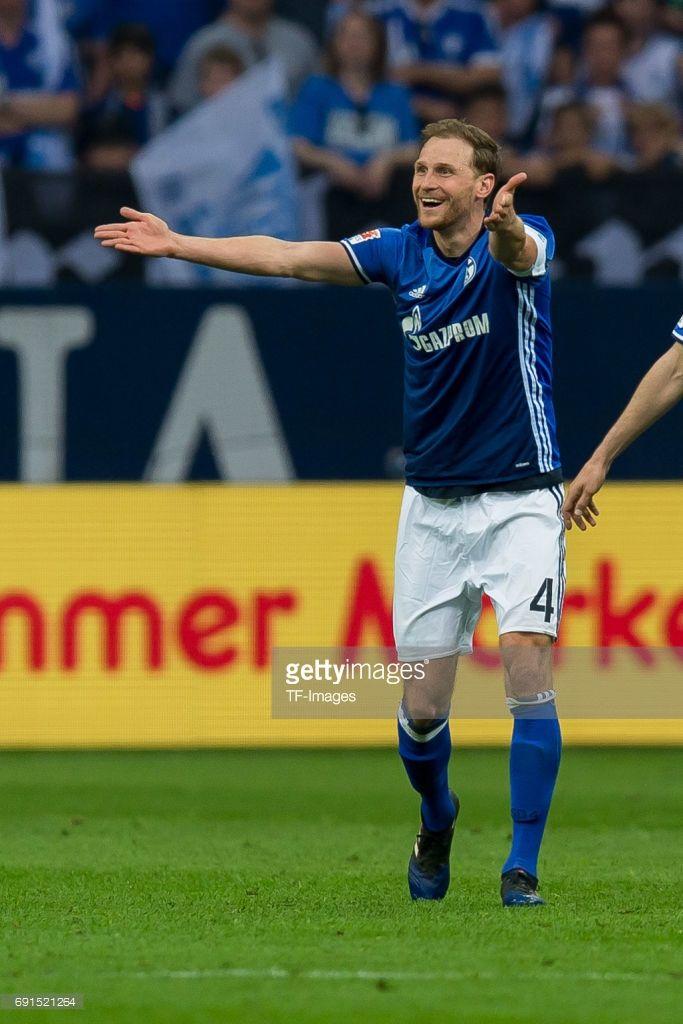 Benedikt Hoewedes of Schalke gestures during to the Bundesliga match between FC Schalke 04 and Hamburger SV at Veltins-Arena on May 13, 2017 in Gelsenkirchen, Germany.