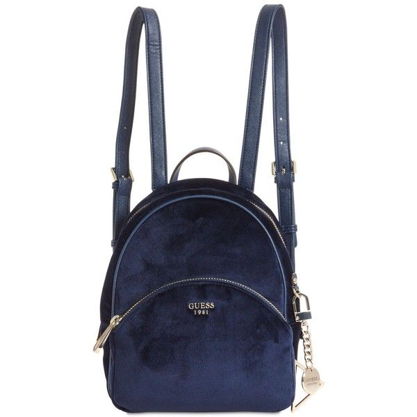 Guess Bradyn Small Backpack ($98) ❤ liked on Polyvore featuring bags, backpacks, accessories, navy, guess backpack, velvet backpack, blue velvet bag, logo backpack and daypack bag
