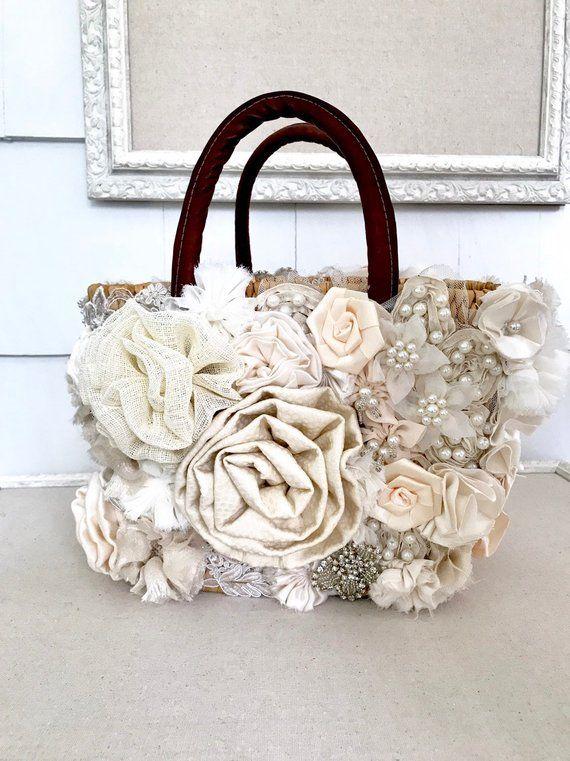 Wedding Bouquet Purse Ivory Bouquet Fabric Flower Bouquet