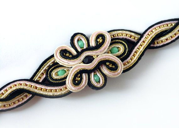 Soutache bracelet Free Shipping by bijouSOL on Etsy