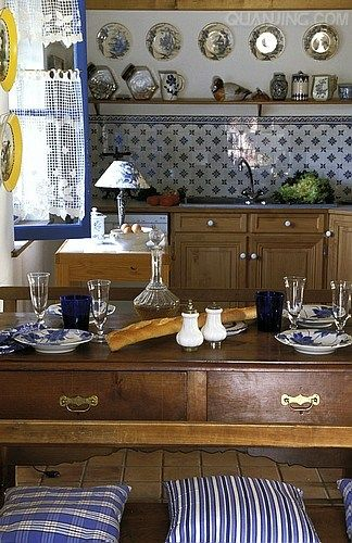 Blue And White French Country Kitchen