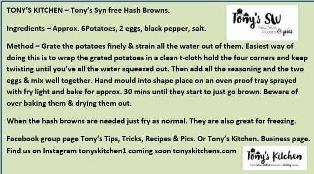 Tonys syn free hash browns