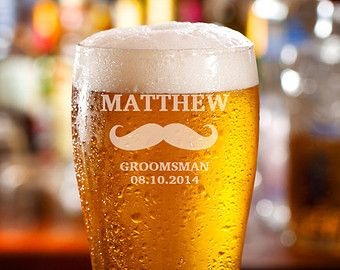 Groomsmen Beer Glasses, Wedding Party Gifts, Personalized Beer Glass, Pint Glasses, Engraved Glasses, Beer Mug, Gifts for Groomsmen