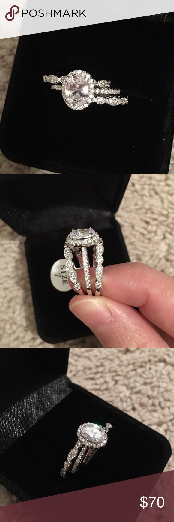 3pcs real silver engagement wedding ring set One set comes with 3pcs rings, size 8, sample sale, only tried on a few times Brand new available size 5, 6, 7, 8, 9, 10 ($85 for brand new set/3pcs) Real 925 sterling silver, 925 stamped, platinum plated, don't change color, will not fade, will not turn finger green Top quality Lab white sapphires, look just like real diamond, main stone is 1.75ct, accented by 32 pcs brilliant topaz Two bands inlay 26pcs small CZ Jewelry Rings