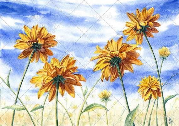 Autumn Flowers - Watercolor Painting & Print