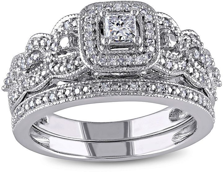 JCPenney MODERN BRIDE 1/2 CT. T.W. Diamond 14K White Gold Bridal Ring Set