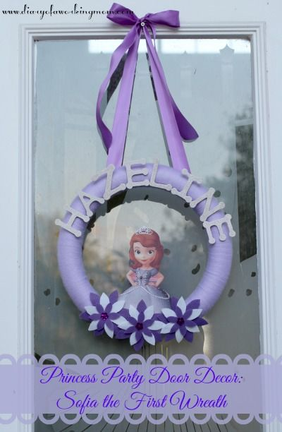 #DIY Princess Party Door Decor: Sofia the First Wreath {Tutorial} - Diary of a Working Mom