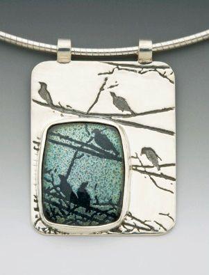 Pendant   Daria Salus.  Sterling silver and enamel