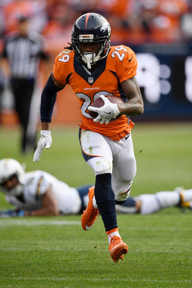 Chargers vs. Broncos:  October 30, 2016  -  27-19, Broncos  -        Bradley Roby (29) of the Denver Broncos returns an interception on a pass by Philip Rivers (17) of the San Diego Chargers for a touchdown during the second quarter on Sunday, October 30, 2016. The Denver Broncos hosted the San Diego Chargers. (Photo by John Leyba/The Denver Post)