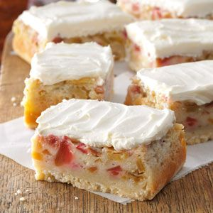 Rhubarb Custard Bars Recipe -Once I tried these rich gooey bars, I just had to have the recipe so I could make them for my family and friends. The shortbread-like crust and rhubarb and custard layers inspire people to find rhubarb they can use to fix a batch for themselves. -Shari Roach, South Milwaukee, Wisconsin