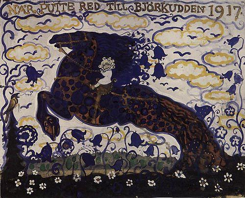 John Bauer (1882–1918) - When Putte rode to Björkkudden, 1917