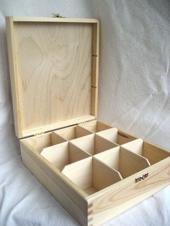 Unfinished Wooden Tea Box with 9 sections and lock -Eco-Friendly Home Decor - Wood Craft Supply on Etsy, $15.99
