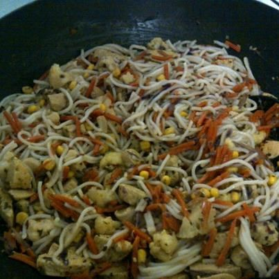 Taste of : Thailand Print Posted February 12, 2013 by TrishWinner Ingredients 5500 gs Chicken Diced1 Carrot sliced1 cup. Cabbage sliced1 cup. Cauliflower chopped1/2 cup. Corn Rice Noodles 2 tsp.s YIAH Thai Green Curry Dip Mix 400 mls Coconut Milk 3 tbsp.s Soy Sauce Directions Cook rice noodles according to the directions on the package. …