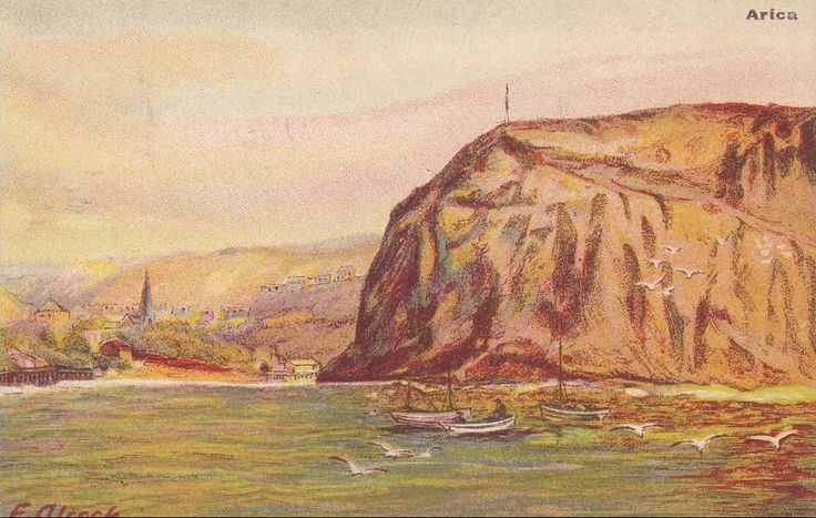 Cuadro de F. Alcock, Sailboats, Arica, 1900-1910s