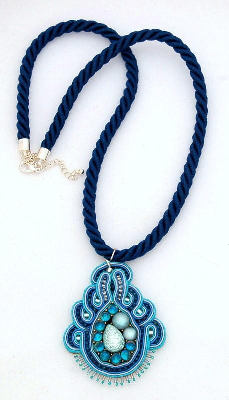 naszyjnik wisior sutasz soutache pendant necklace 23a