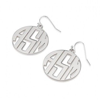 Top off your look with this pair of head turning 3 letter sterling silver circle monogram earrings with border.