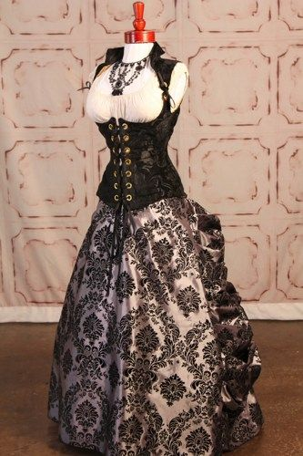 Silver and Black Victorian Damask Full Length Bustle Skirt | damselinthisdress - Clothing on ArtFire