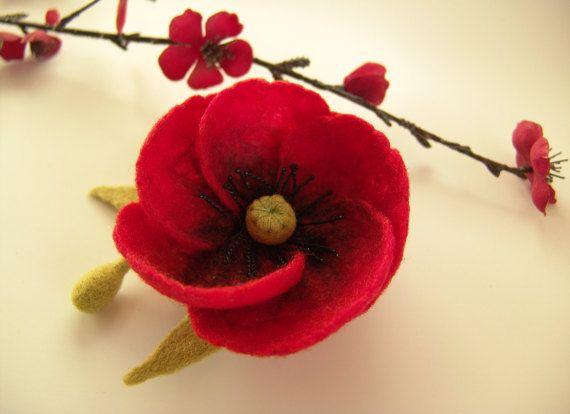 Rote Mohnblume Nadel Gefilzt Mohn Blumen Brosche Needle Felting Red Poppies Fabric Jewelry