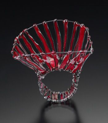 "Jennifer Hall  Radiate  Ring in steel wire, epoxy, and pigment. (""Good Enough to Eat"" exhibition, 2011)"