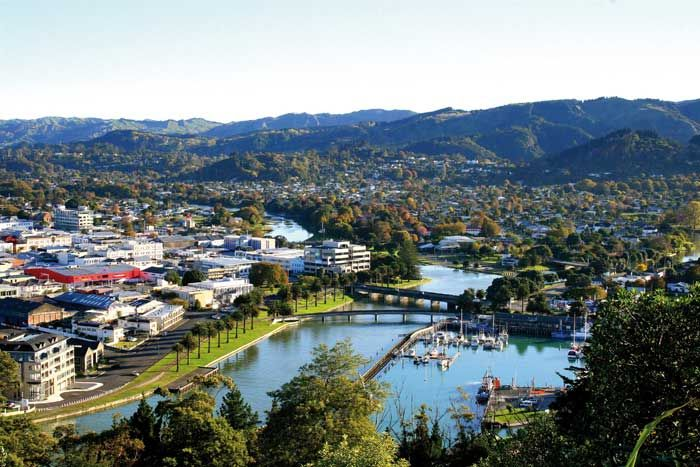 Gisborne city, New Zealand.  Photo taken from Titirangi Domain / Kaiti Hill, looking down over the inner harbour.  The city is built around the confluence of three rivers. Turanganui, Waimata & the Taruheru.