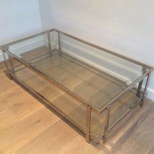 Very nice chrome coffee table. - Decorative Collective