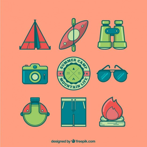 Free vector Colored camping icons #5352