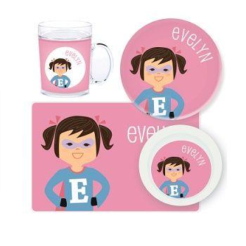Superhero Girl Personalised Kids Mealtime Set $32.95 - $39.95 #sweetcreations #baby #toddlers #kids #personalised