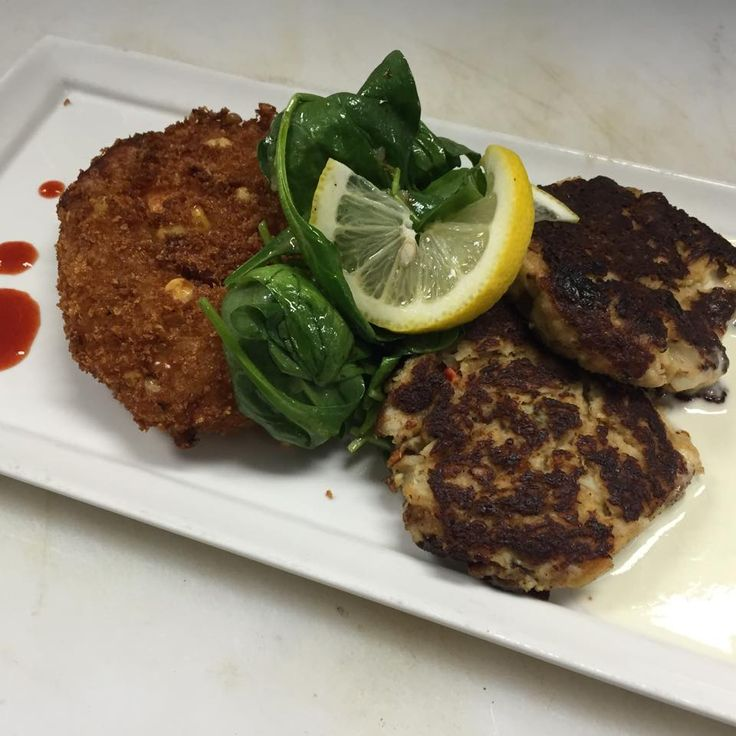 Crab cakes with spinach, low country risotto cake and lemon butter ...