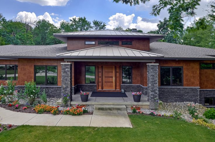 Prairie Home Design Contemporay | modern prairie style house plans 1045 Skyevale, Ada, MI 49301 Combining metal roof line with composite.