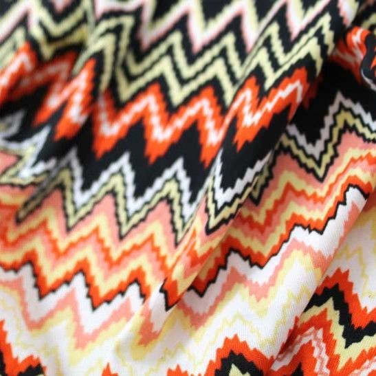 50% Off! Misson-ish Print ITY Jersey - Orange/Coral/Yellow/Black/W - Gorgeous FabricsGorgeous Fabrics