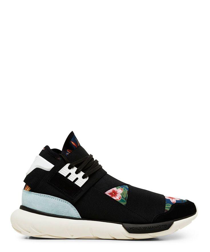 Y-3 Black and Floral Print Qasa High Top Sneaker-SS15Y3AD3 - Sneakerboy