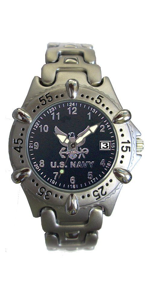 Aqua Force Navy Frontier Watch with 40mm Black Face and Metal Band. Chrome Brass Metal Case With Rotating Bezel. Chrome Brass Strap. Water Resistant up to 30 Meters. Date Display and Luminous Hands. U.S. Navy Insignia.