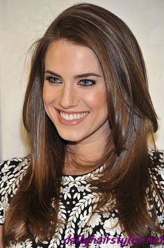 classic mid-to-long layers with an easy side part haircut - allison williams