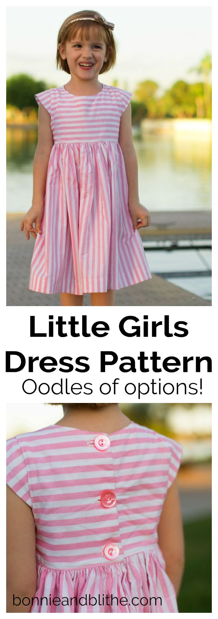 Easy sewing pattern for an infinitely customizable little girls dress! Whether you have a newborn, toddler or grade school little darling, you can whip up any number of different styles of dress from this one single pattern.  Gathered skirt, sheath style, ruffle sleeve - you name it!  This simple sewing project will have your little girl(s) looking adorable in her handmade outfit in no time!