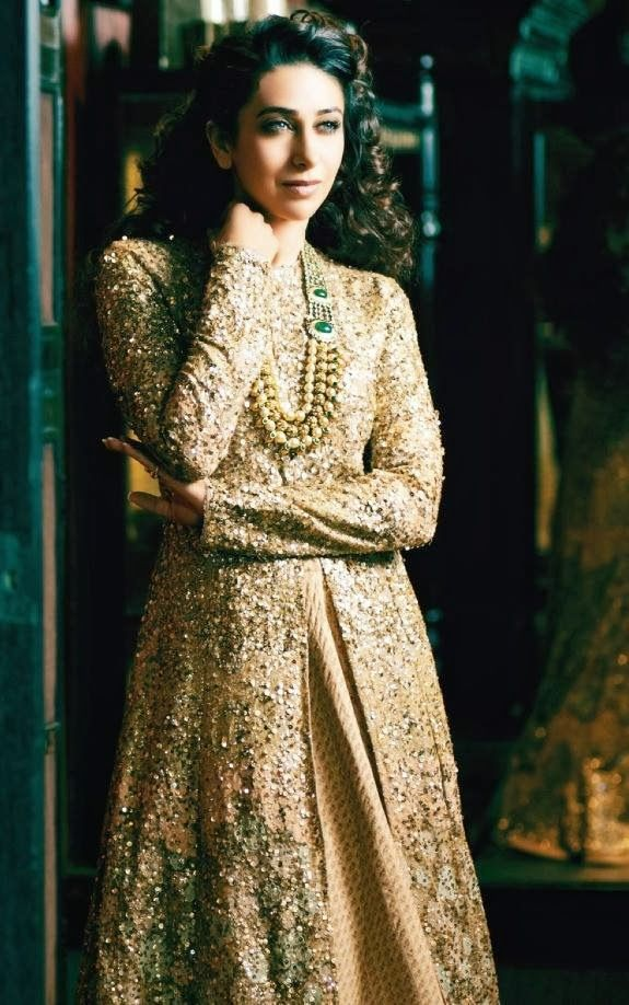 Bridal Inspiration: Soft Gold Lehengas by Sabyasachi on Karisma Kapoor