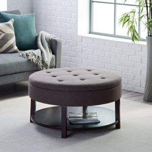 Ottoman Belham Living Dalton Coffee Table Round Tufted Storage Ottoman with Tray & Shelf - Ottomans at Hayneedle