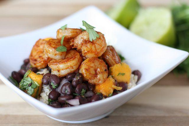 Sautéed shrimp with black bean mango salsa and cilantro brown rice ...