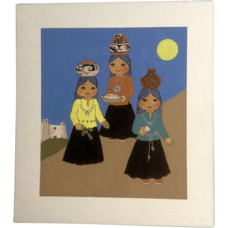 Joanne McGuire Battiste (1932 - 2009)  Little Indian Girls Holding Pots Watercolor Casein Painting Signed By Pueblo Colorado Artist