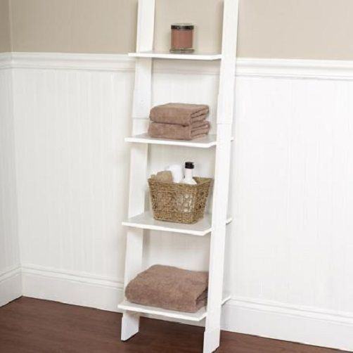 Wall Storage Ladder White Shelf Bookcase Bathroom Towel 4 Shelves Linen Tower…