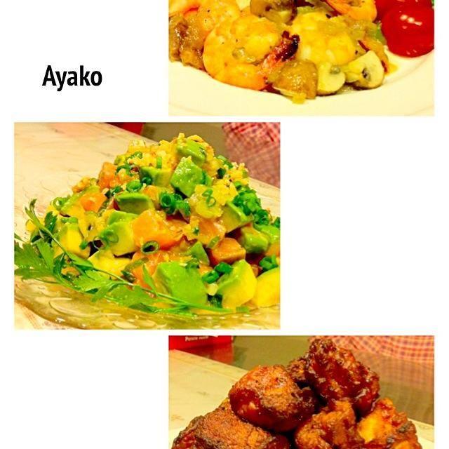 今日は、ハワイアン料理〜(≧∇≦) 夏休み、何処にも行けなかったから、せめて気分だけでも♡ - 135件のもぐもぐ - ガーリックシュリンプライス、サーモンとアボカドのアヒポキ、モチコチキン by ayako1015