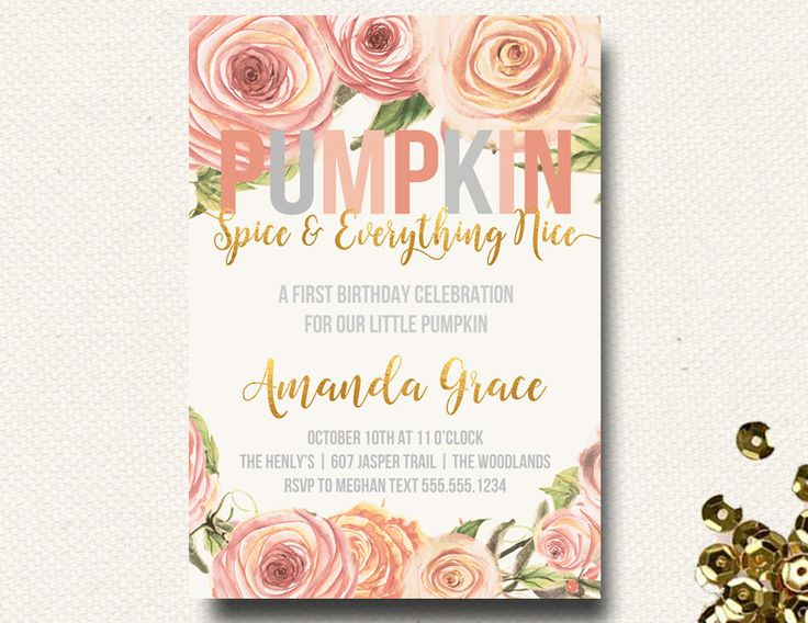 Pumpkin Birthday Our Little Pumpkin Spice Birthday Party Invite Invitation Watercolor Fall Floral DIY Printable by DesignOnPaper on Etsy https://www.etsy.com/listing/246337659/pumpkin-birthday-our-little-pumpkin
