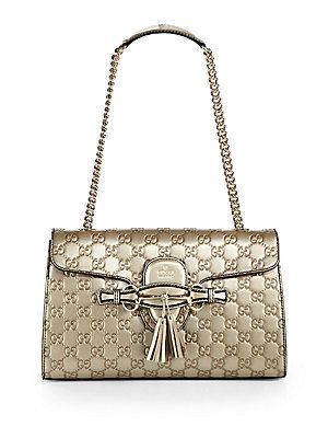 Emily Metallic Guccissima Leather Chain Shoulder Bag 111