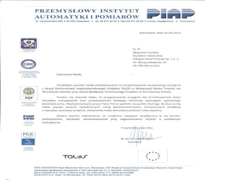 """Recommendations of """"Przemysłowy Instytut Automatyki i Pomiarów"""""""