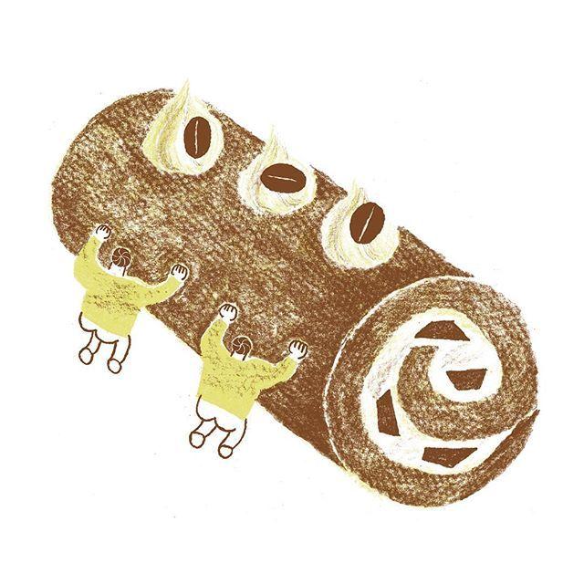 コーヒーロールケーキをはこぶ 一日一絵 イラスト 絵 お絵描き えんぴつ画 Illust Illustrati ロールケーキ ケーキ コーヒー 珈琲 Cake Rollcake Coffee けぇきとわたし 2020 ロールケーキ コーヒー イラスト